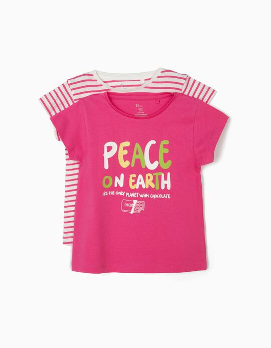 2 Camisetas para Niña 'Peace', Rosa