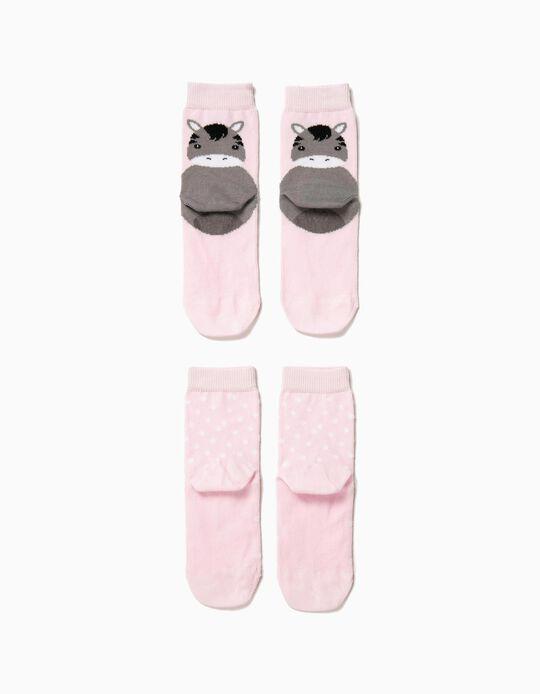 2 Calcetines Antideslizantes para Bebé Niña 'Animals', Rosa