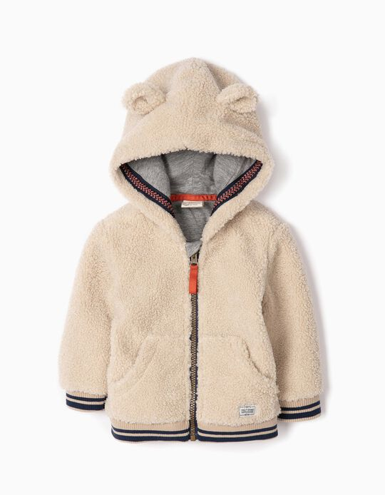 Fluffy Jacket for Baby Boys, Beige