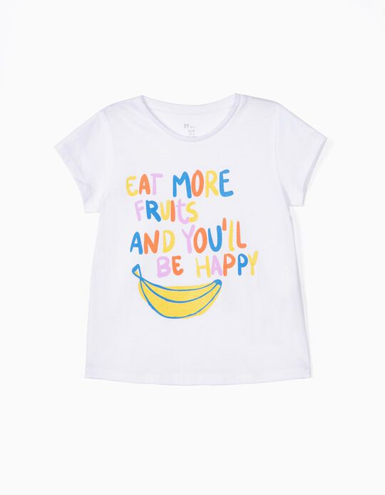 Camiseta para Niña 'Eat More Fruits', Blanca