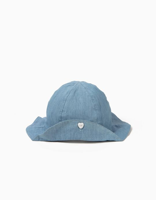 Denim Hat for Baby Girls with Button, Light Blue