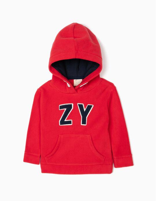 Polar Fleece Hoodie for Baby Boys 'ZY', Red