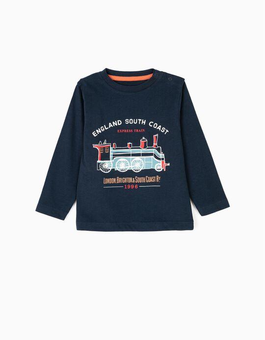 Camiseta de Manga Larga para Bebé Niño 'Vintage Train', Azul Oscuro