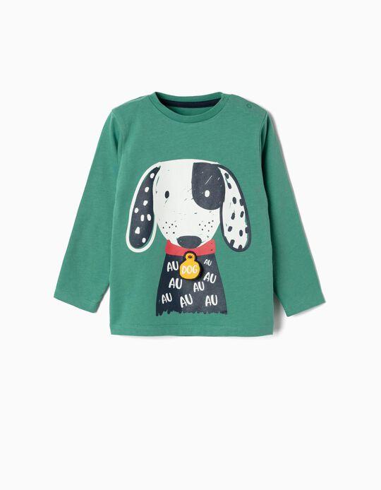 T-shirt Manga Comprida para Bebé Menino 'Dog', Verde
