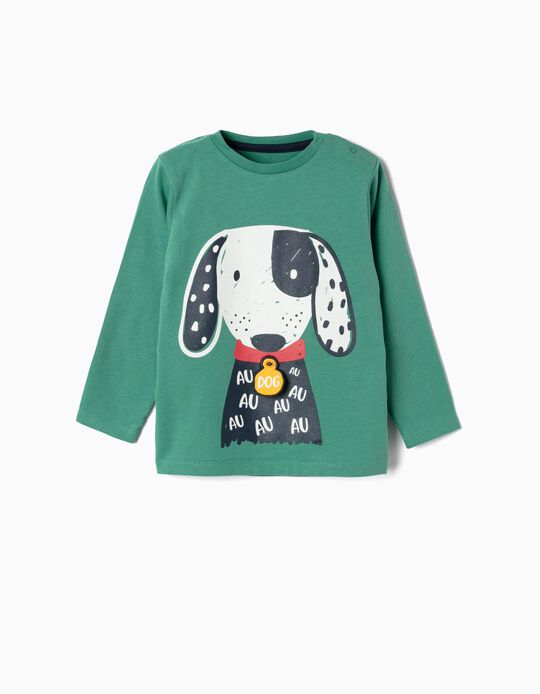 Camiseta de Manga Larga para Bebé Niño 'Dog', Verde