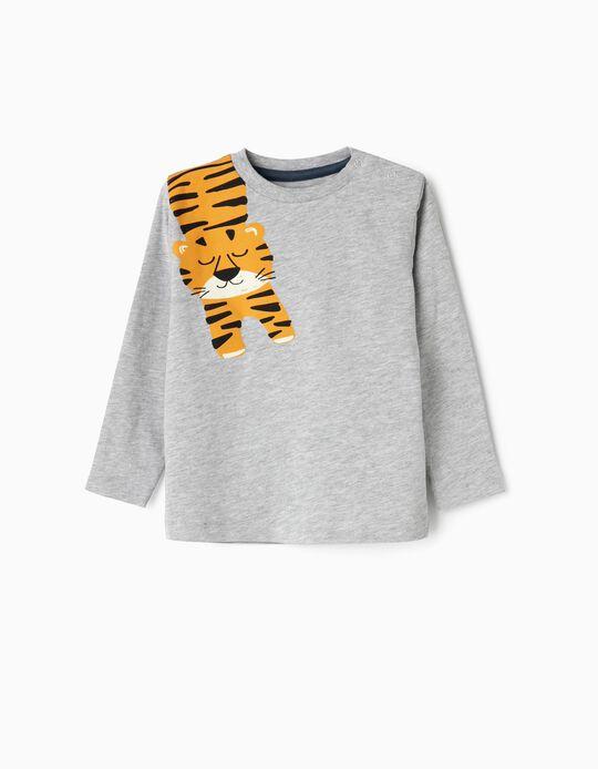 T-shirt Manga Comprida para Bebé Menino 'Hapiness Tiger', Cinza