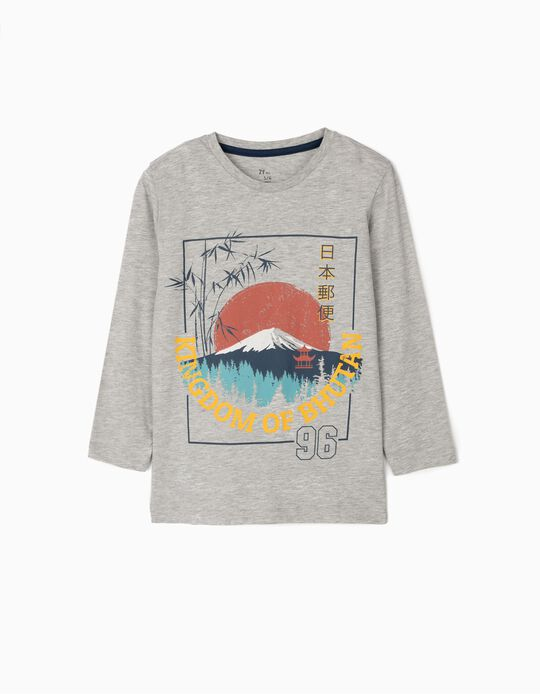 Camiseta de Manga Larga para Niño 'Bhutan', Gris