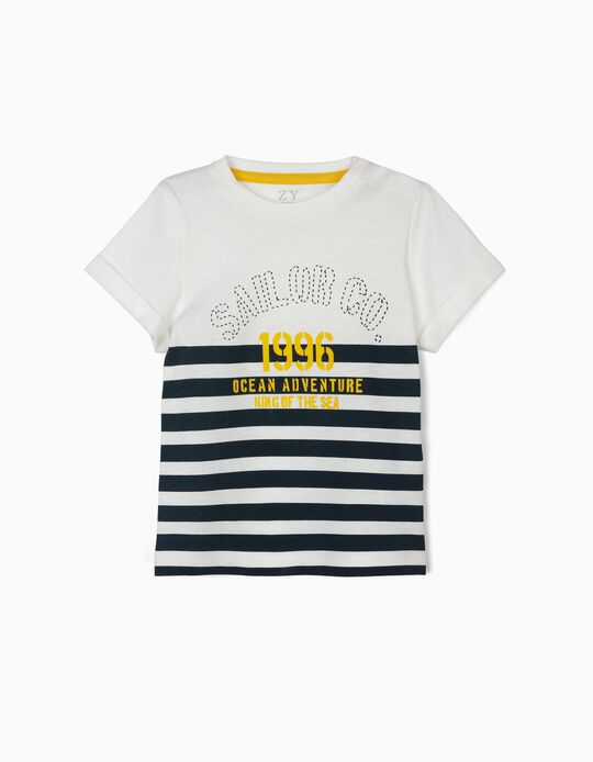 T-shirt para Bebé Menino 'Sailor' Riscas, Branco e Azul