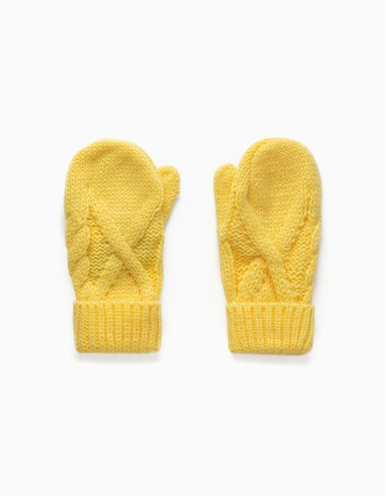 Knit Mittens for Babies, Yellow