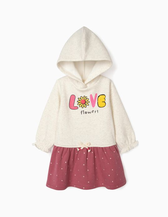 Vestido de Dos Materias para Bebé Niña 'Love Flowers', Blanco/Rosa