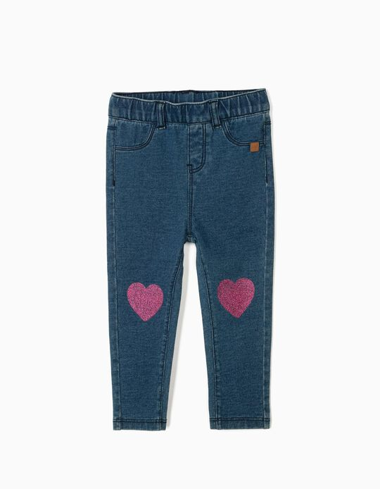 Jeggings for Baby Girls, 'Hearts', Blue
