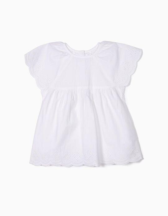 Blusa para Niña con Bordado Inglés, Blanca