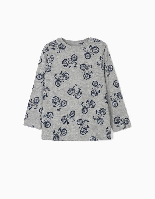 Camiseta de Manga Larga para Bebé Niño 'Bicycle', Gris