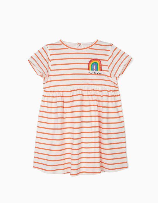 Vestido para Bebé Menina 'All Colors', Branco e Laranja