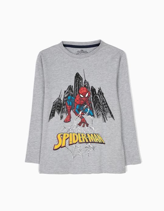 T-shirt de Manga Comprida Spider-Man Cinzenta