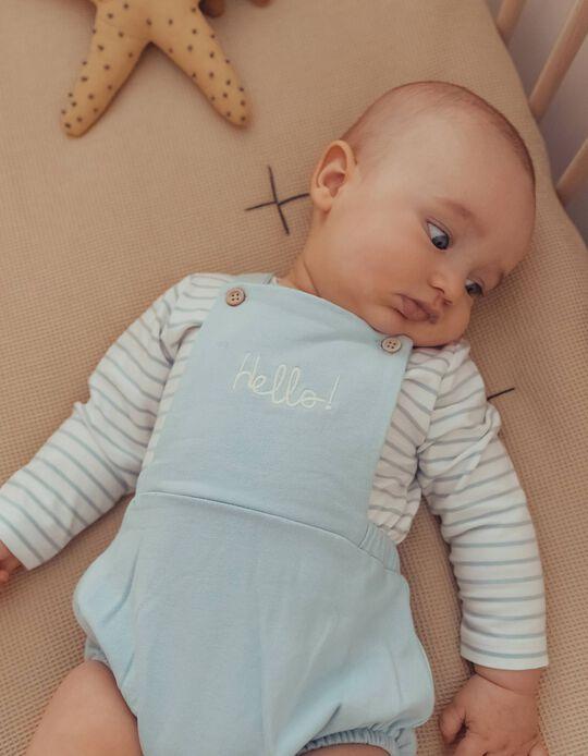 Organic Cotton Jumpsuit & Bodysuit for Newborn Baby Boys, 'Hello', Light Blue/White