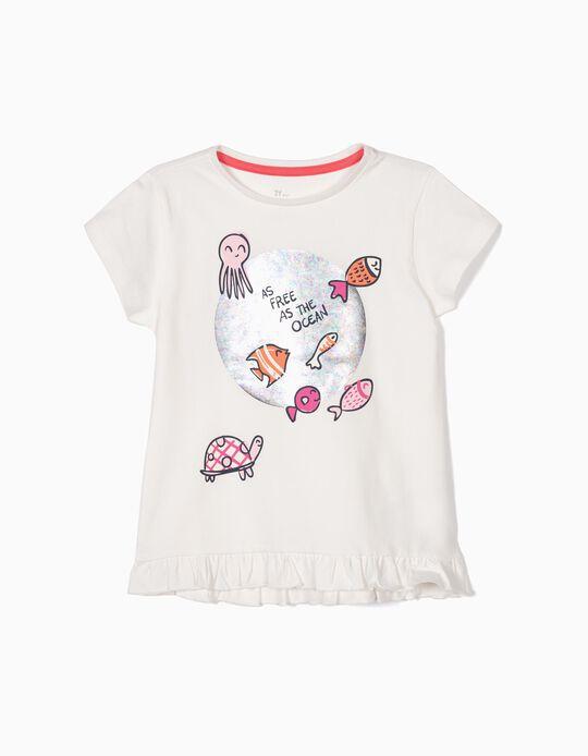 Camiseta para Niña 'As Free as the Ocean', Blanca