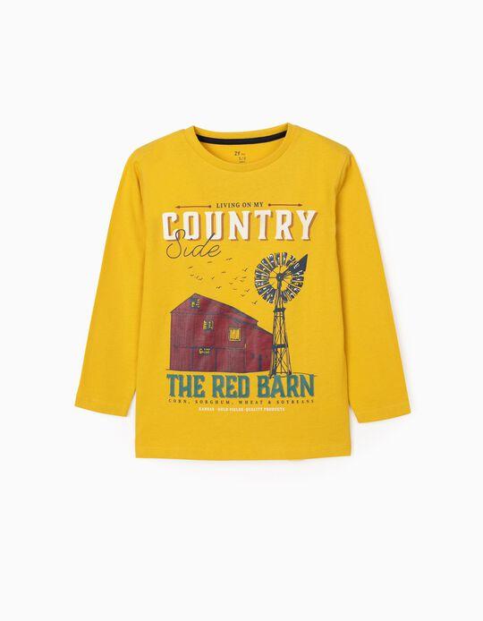 Camiseta de Manga Larga para Niño 'Countryside', Amarillo