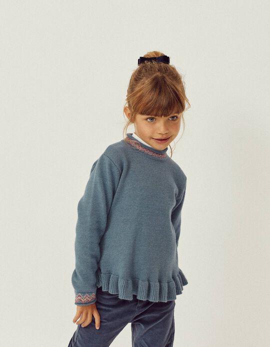 Jersey de Cuello Alto para Niña, Azul
