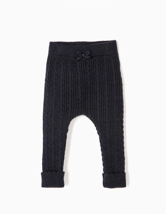 Knit Trousers for Newborn Girls, Dark Blue