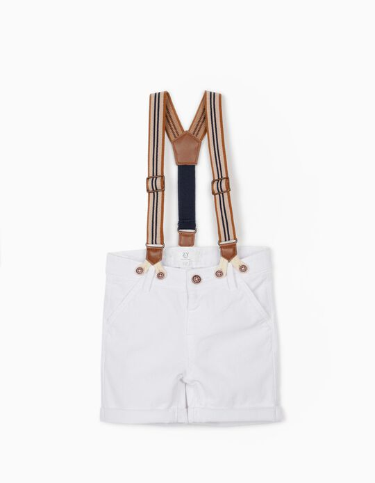 Chino Shorts with Braces for Baby Boys, White