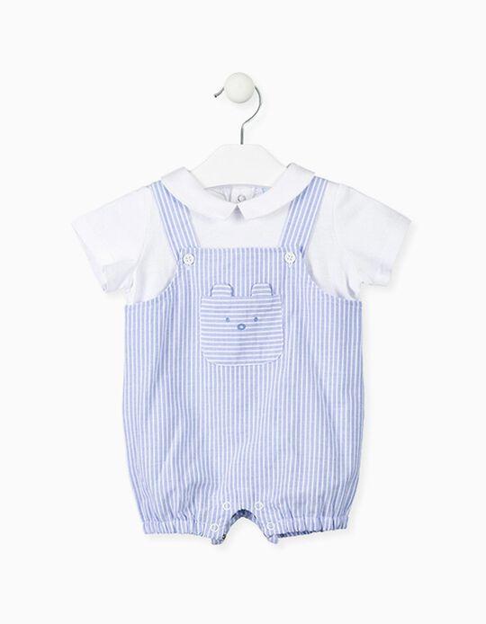 Macacão com T-shirt Integrada para Recém-Nascido LOSAN, Branco/Azul
