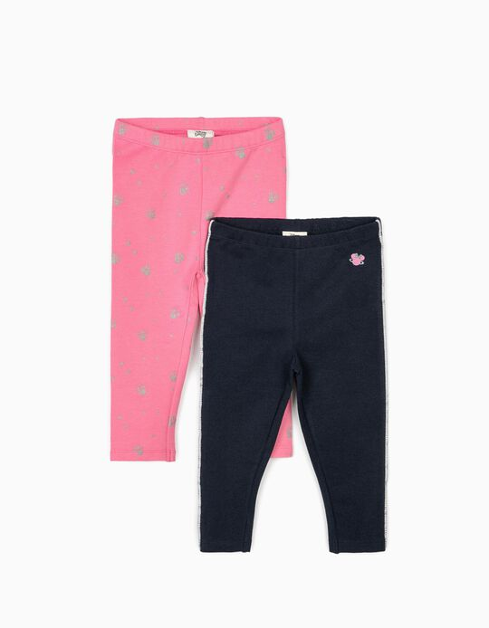2 Leggings for Baby Girls 'Minnie Mouse', Pink/Dark Blue