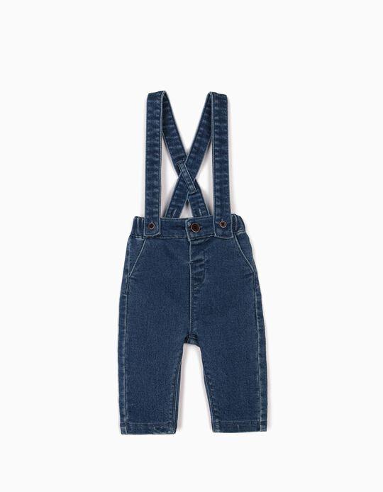 Pantalon à bretelles nouveau-né 'Confort Denim', bleu