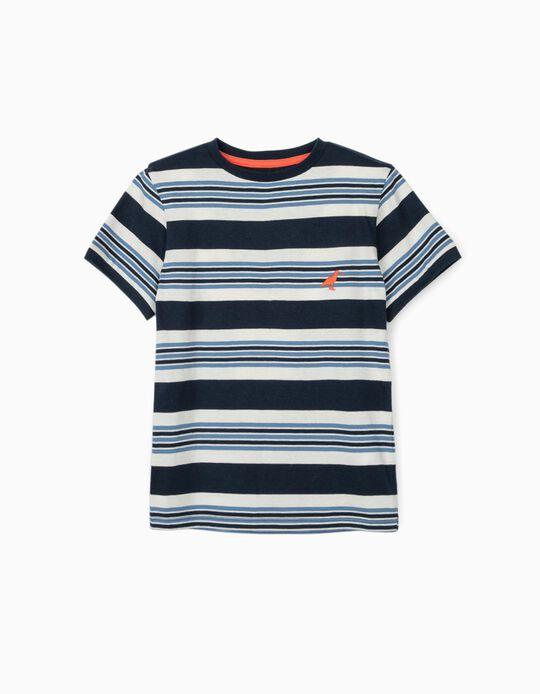 T-shirt Riscas para Menino, Azul/Branco