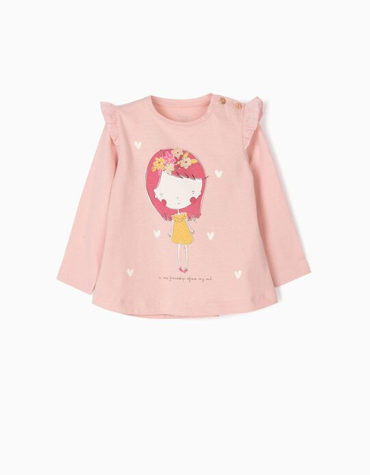 Camiseta de Manga Larga para Bebé Niña 'Friendship', Rosa
