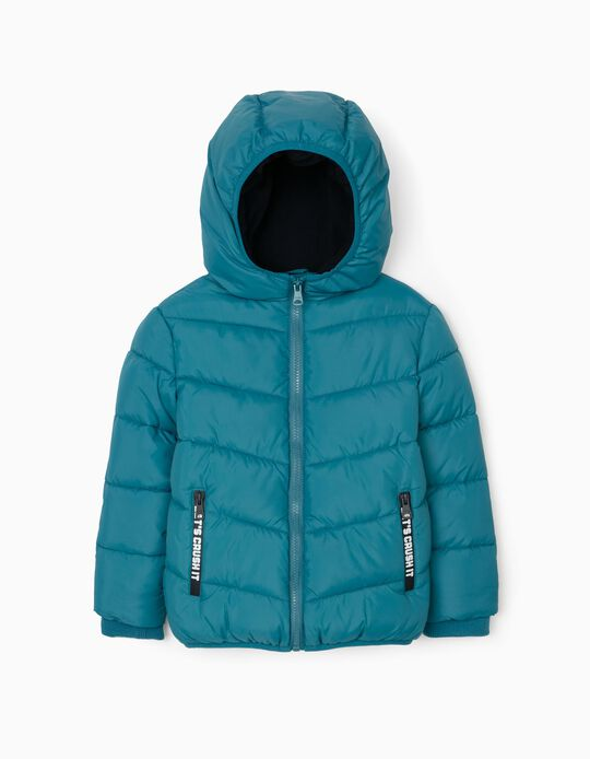 Padded Hooded Jacket for Boys, Turquoise Blue