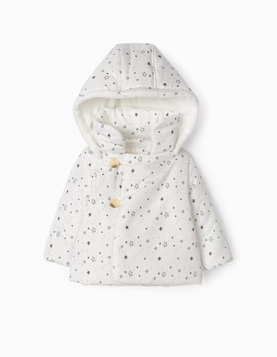 Hooded Jacket for Newborn Girls 'Stars', White/Grey