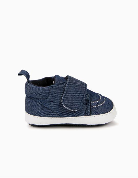 Zapatos de Denim Azul para Recién Nacido con Cierre Autoadherente