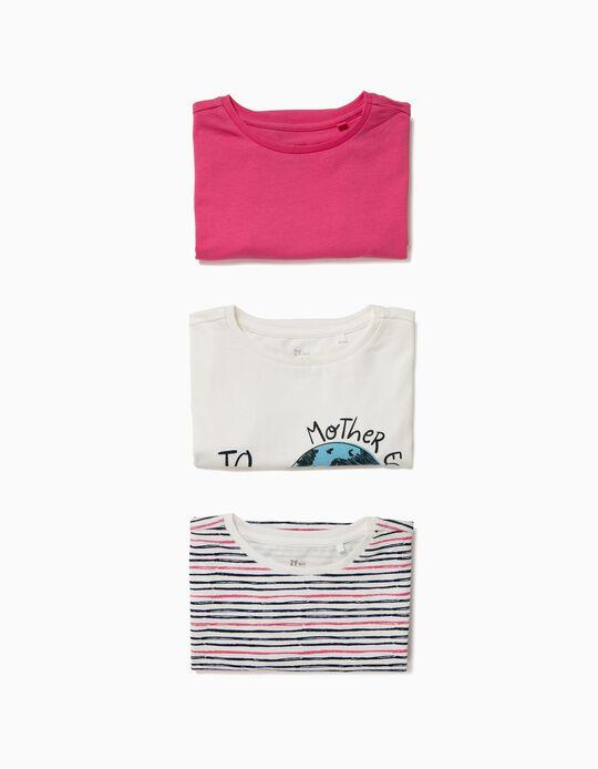 3 T-shirts para Menina 'Mother Earth ', Multicolor