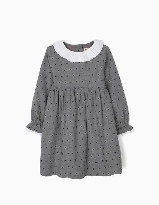 Vestido para Menina com Pintinhas, Cinzento