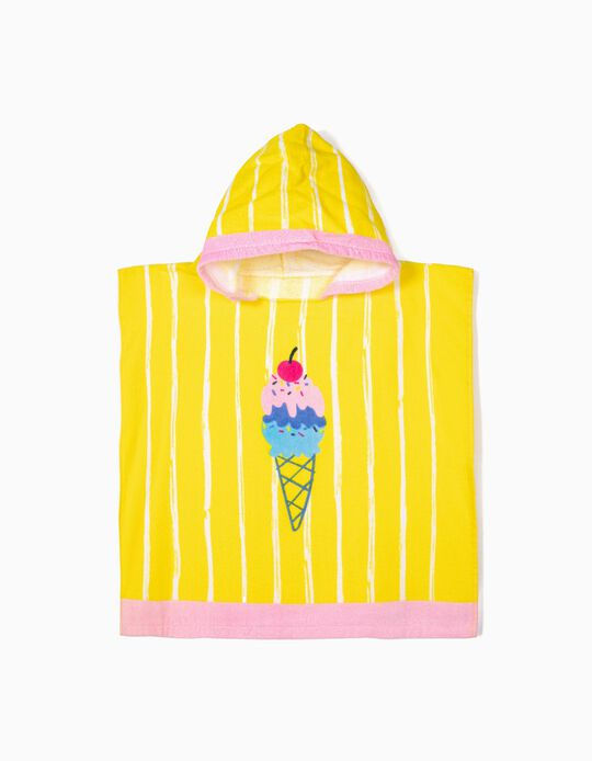 Poncho de Playa para Bebé Niña 'Ice Cream', Amarillo