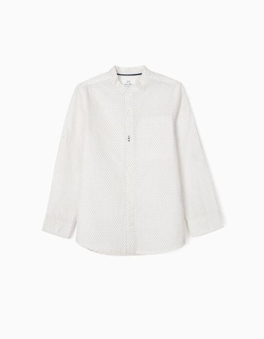 Camisa Gola Mao para Menino, Branco