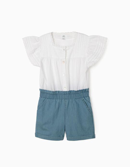 Macacão Combinado para Menina, Branco/Azul