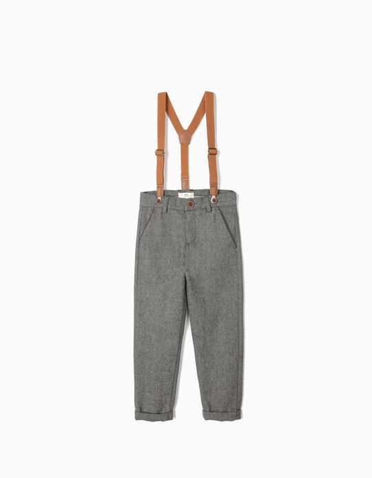 Woollen Trousers with Braces for Boys 'B&S', Grey