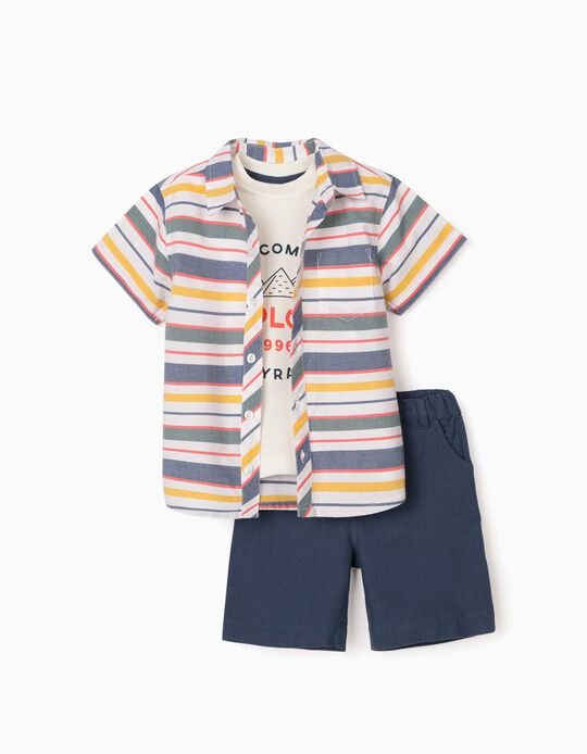 Shirt, T-shirt & Shorts for Baby Boys, 'Explore', Multicoloured