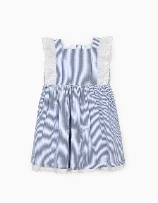 Robe rayée bébé fille 'B&S', bleu/blanc