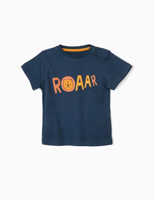 T-shirt para Bebé Menino 'Lion', Azul Escuro