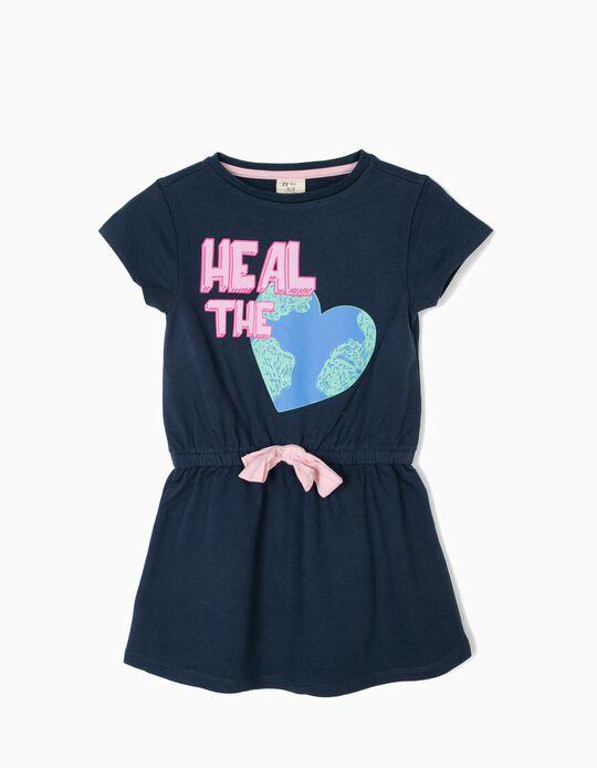 Vestido para Menina 'Heal the Earth', Azul Escuro