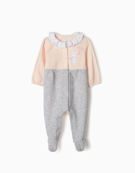 Sleepsuit for Newborn Baby Girls, 'Little Bunny', Pink/Grey