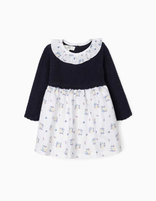 Dual Fabric Dress for Newborn Baby Girls, White/Blue