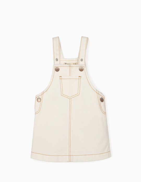Robe salopette Denim bébé fille, blanc