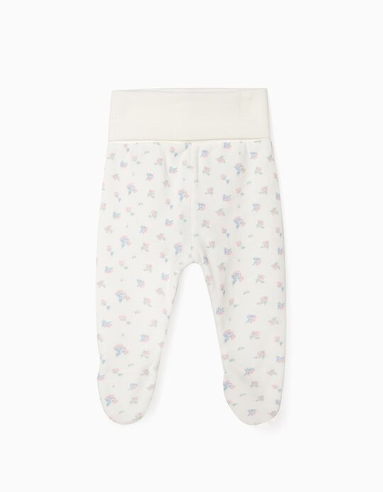Footed Trousers for Newborn Baby Girls, 'WH', White