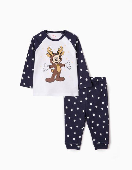 Pijama para Bebé Niño 'Christmas Mickey', Blanco/Azul Oscuro