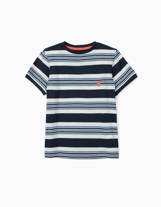 Camiseta a Rayas para Niño, Azul/Blanco
