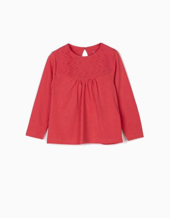 Camiseta de Manga Larga con Bordados Rosa